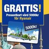 Vinn presentkort värt 5000 kr för Ryanair